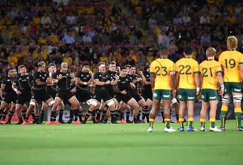 7th November 2020, Brisbane, Australia; Tri Nations International rugby union, Australia versus New Zealand;  All Blacks players perform the Haka