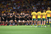 7th November 2020, Brisbane, Australia; Tri Nations International rugby union, Australia versus New Zealand;  All Blacks players perform the Haka