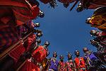 Maasai men singing in a circle, Losho Village, Kenya