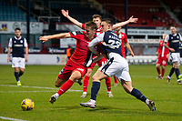 19th December 2020; Dens Park, Dundee, Scotland; Scottish Championship Football, Dundee FC versus Dunfermline; Lewis Mayo of Dunfermline Athletic challenges for the ball with Jordan Marshall of Dundee