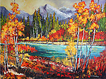 """NEW PAINTING BY LOIS.<br /> """"ALONG THE KANANASKIS RIVER"""".<br /> Lois Bauman is a signature member of the Alberta Society of Artists, an associate member of the Oil Painters of <br /> America, and an active member of the Federation of Canadian Aritsts.  Her paintings, rendered in an impressionistic style using loose brush strokes in brilliant colours, depict the landscapes of Canada.<br /> Her paintings can be found accross Canada, and in Japan, Wales, Ireland, England, New Zealand, Australia, and the U.S.A."""