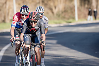 Egan Bernal (COL/Ineos Grenadiers) leading out Mathieu Van der Poel (NED/Alpecin-Fenix) & World Champion Julian Alaphilippe (FRA/Deceuninck - QuickStep)<br /> <br /> 15th Strade Bianche 2021<br /> ME (1.UWT)<br /> 1 day race from Siena to Siena (ITA/184km)<br /> <br /> ©kramon
