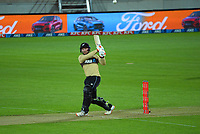 NZ's Tim Seifert bats during the third international men's T20 cricket match between the New Zealand Black Capss and Australia at Sky Stadium in Wellington, New Zealand on Wednesday, 3 March 2021. Photo: Dave Lintott / lintottphoto.co.nz