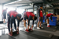 (L-R) Leroy Fer, Federico Fernandez, Jefferson Montero and Roque Mesa exercise in the gym during the Swansea City Training at The Fairwood Training Ground, Swansea, Wales, UK. Wednesday 16 August 2017