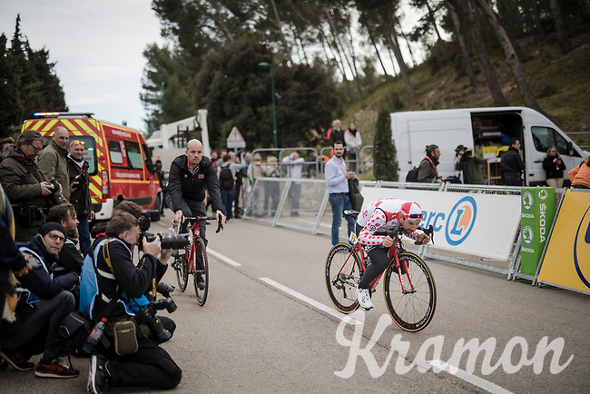 Thomas De Gendt (BEL/Lotto-Soudal) trying to sneak off after the podium ceremony<br /> <br /> Stage 5 (ITT): Barbentane to Barbentane (25km)<br /> 77th Paris - Nice 2019 (2.UWT)<br /> <br /> ©kramon