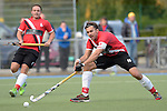 GER - Mannheim, Germany, October 09: During the men hockey match between Mannheimer HC (blue) and TSV Mannheim (red) on October 9, 2016 at Mannheimer HC in Mannheim, Germany. Final score 4-3 (HT 1-1). (Photo by Dirk Markgraf / www.265-images.com) *** Local caption *** Alexander Voerg #16 of TSV Mannheim