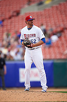 Buffalo Bisons relief pitcher Bo Schultz (52) gets ready to deliver a pitch during a game against the Louisville Bats on June 23, 2016 at Coca-Cola Field in Buffalo, New York.  Buffalo defeated Louisville 9-6.  (Mike Janes/Four Seam Images)