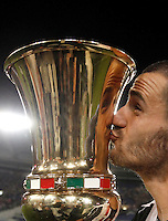 Calcio, finale Tim Cup: Milan vs Juventus. Roma, stadio Olimpico, 21 maggio 2016.<br /> Juventus' Leonardo Bonucci kisses the trophy at the end of the Italian Cup final football match between AC Milan and Juventus at Rome's Olympic stadium, 21 May 2016. Juventus won 1-0 in the extra time.<br /> UPDATE IMAGES PRESS/Isabella Bonotto