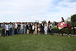 April 10, 2015: Jockey John Velazquez aboard #2 Untapable in the winners circle after winning the Apple Blossom Handicap at Oaklawn Park in Hot Springs, AR. Justin Manning/ESW/CSM