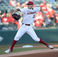 Arkansas starter Patrick Wicklander delivers to the plate Thursday, April 1, 2021, during the first inning of play against Auburn at Baum-Walker Stadium in Fayetteville. Visit nwaonline.com/210402Daily/ for today's photo gallery. <br /> (NWA Democrat-Gazette/Andy Shupe)