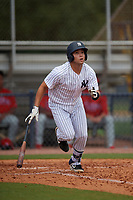 GCL Yankees East Raymundo Moreno (5) bats during a Gulf Coast League game against the GCL Phillies West on July 26, 2019 at the New York Yankees Minor League Complex in Tampa, Florida.  (Mike Janes/Four Seam Images)