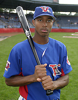 July 31, 2004:  Outfielder Marvin Lowrance of the Vermont Expos during a game at Russell Diethrick Park in Jamestown, NY.  Vermont is the Short Season Single-A NY-Penn League affiliate of the Montreal Expos (Washington Nationals).  Photo By Mike Janes/Four Seam Images