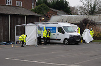 Covid-19 testing station being set up in Sidcup, Kent, England on the 8 March 2021. Photo by Alan Stanford .