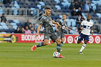 SAINT PAUL, MN - MAY 12: Michael Boxall #15 of Minnesota United FC kicks the ball during a game between Vancouver Whitecaps and Minnesota United FC at Allianz Field on May 12, 2021 in Saint Paul, Minnesota.