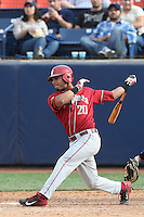 P.J. Jones #20 of the Washington State Cougars bats against the Cal State Fullerton Titans at Goodwin Field on  February 15, 2014 in Fullerton, California. Washington State defeated Fullerton, 9-7. (Larry Goren/Four Seam Images)