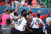 6th June 2021. Denver, Colorado, USA;  United States forward Christian Pulisic celebrates with teammates after scoring his goal from a penalty kick in extra time action during the CONCACAF Nations League finals between Mexico and the United States  at Empower Field at Mile High in Denver, CO.