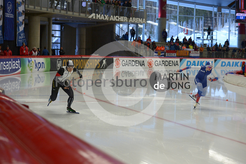 SPEEDSKATING: INZELL: Max Aicher Arena, 08-02-2019, ISU World Single Distances Speed Skating Championships, 500m Ladies, Nao Kodaira (JPN), Olga Fatkulina (RUS), ©photo Martin de Jong