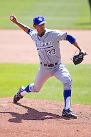 Brandon Dorsett (33) of the Indiana State Sycamores delivers a pitch during a game against the Evansville Purple Aces in the 2012 Missouri Valley Conference Championship Tournament at Hammons Field on May 23, 2012 in Springfield, Missouri. (David Welker/Four Seam Images).