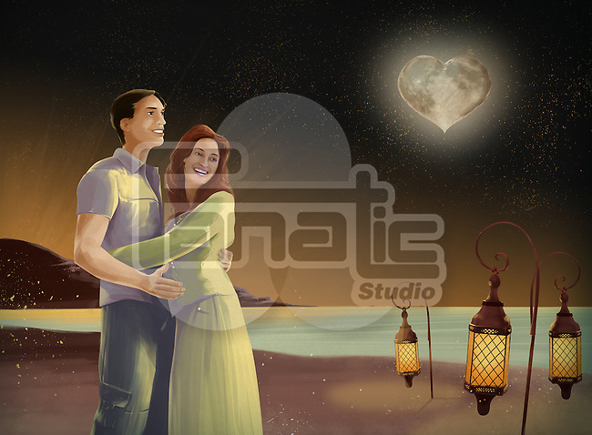 Illustrative image of couple embracing on beach at night with heart shape moon