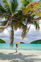 Young woman enjoying the beach<br /> Big Maho Bay<br /> Virgin Islands National Park<br /> St. John, U.S. Virgin Islands