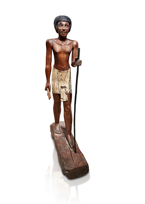 Ancient Egyptian wooden statue of Wepwawetemhat, Middle Kingdom, 12th Dynasty, (1939-1875 BC), Asyut, Tomb of Minhotep. Egyptian Museum, Turin. Cat 8786. white background.