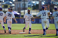 Josh Greene (1) of the High Point Panthers celebrates with teammates following their victory over the NJIT Highlanders at Williard Stadium on February 19, 2017 in High Point, North Carolina. The Panthers defeated the Highlanders 6-5. (Brian Westerholt/Four Seam Images)