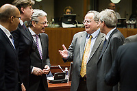(L-R) French state secretary of EU affairs Harlem Desir, Foreign Relations Minister of Belgium, Didier Reynders, Greek Foreign Minister Nikos Kotzias and Italian Minister for Foreign Affairs and International Cooperation Paolo Gentiloni   prior to the European Union Foreign Ministers Council at EU headquarters  in Brussels, Belgium on 29.01.2015 Federica Mogherini , EU High representative for foreign policy called extraordinary meeting on the situation in Ukraine after the attack on Marioupol.  by Wiktor Dabkowski