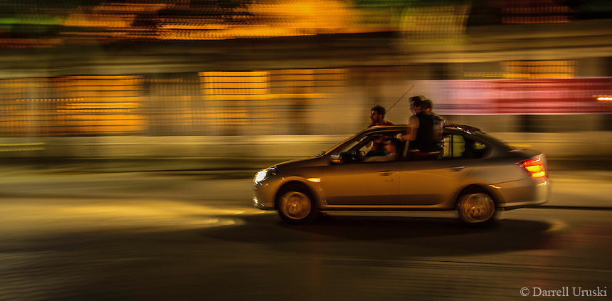 Urban Street Photograph of one of the cars that was photographed racing through the streets of the Hippodrome in Istanbul Turkey.