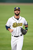 Burlington Bees center fielder Jordan Serena (3) during a game against the Bowling Green Hot Rods on May 7, 2016 at Community Field in Burlington, Iowa.  Bowling Green defeated Burlington 11-1.  (Mike Janes/Four Seam Images)