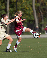 Florida State defender Eirin Kleppa (5) attempts to control the ball as Boston College forward Victoria DiMartino (1) defends. Florida State University defeated Boston College, 1-0, at Newton Soccer Field, Newton, MA on October 31, 2010.