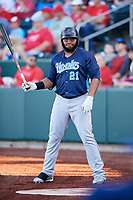 Corpus Christi Hooks first baseman Jon Singleton (21) on deck during a game against the Springfield Cardinals on May 30, 2017 at Hammons Field in Springfield, Missouri.  Springfield defeated Corpus Christi 4-3.  (Mike Janes/Four Seam Images)