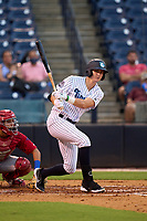 Tampa Tarpons Trey Sweeney (4) bats during a game against the Clearwater Threshers on August 10, 2021 at George M. Steinbrenner Field in Tampa, Florida.  (Mike Janes/Four Seam Images)