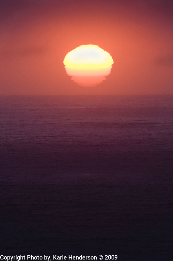 Sunsetting on the Pacific Ocean adjacent the Plaskett Creek campground, in Big Sur California..
