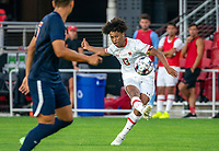 WASHINGTON, DC - SEPTEMBER 6: Maryland forward Jacen Russell-Rowe (13) takes a shot during a game between University of Virginia and University of Maryland at Audi Field on September 6, 2021 in Washington, DC.