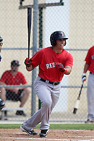 Boston Red Sox third baseman Garin Cecchini #43 during an Instructional League game against the Minnesota Twins at Red Sox Minor League Training Complex in Fort Myers, Florida;  October 3, 2011.  (Mike Janes/Four Seam Images)