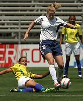 Cindy Parlow.US Women's National Team vs Brazil at Legion Field in Birmingham, Alabama.