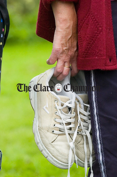 Footwear at the ready for some lively dancing  during the Ceile at the Crossroads weekend at Clarecastle. Photograph by John Kelly.