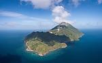 Serua Island, Banda Sea, Indonesia; a panoramic aerial view of the volcanic island of Serua
