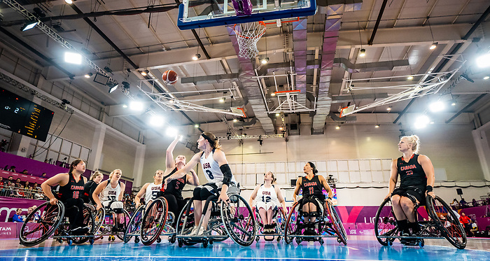Elodie Tessier, Lima 2019 - Wheelchair Basketball // Basketball en fauteuil roulant.<br /> Canada takes on the USA in the gold medal game in women's wheelchair basketball // Le Canada affronte les États-Unis dans le match pour la médaille d'or en basketball en fauteuil roulant féminin. 30/08/2019.