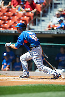 Buffalo Bisons outfielder Lucas Duda #45 at bat during an International League game against the Empire State Yankees at Coca-Cola Field on August 21, 2012 in Buffalo, New York.  Empire State, who was the home team because of stadium renovations, defeated Buffalo 4-2.  (Mike Janes/Four Seam Images)