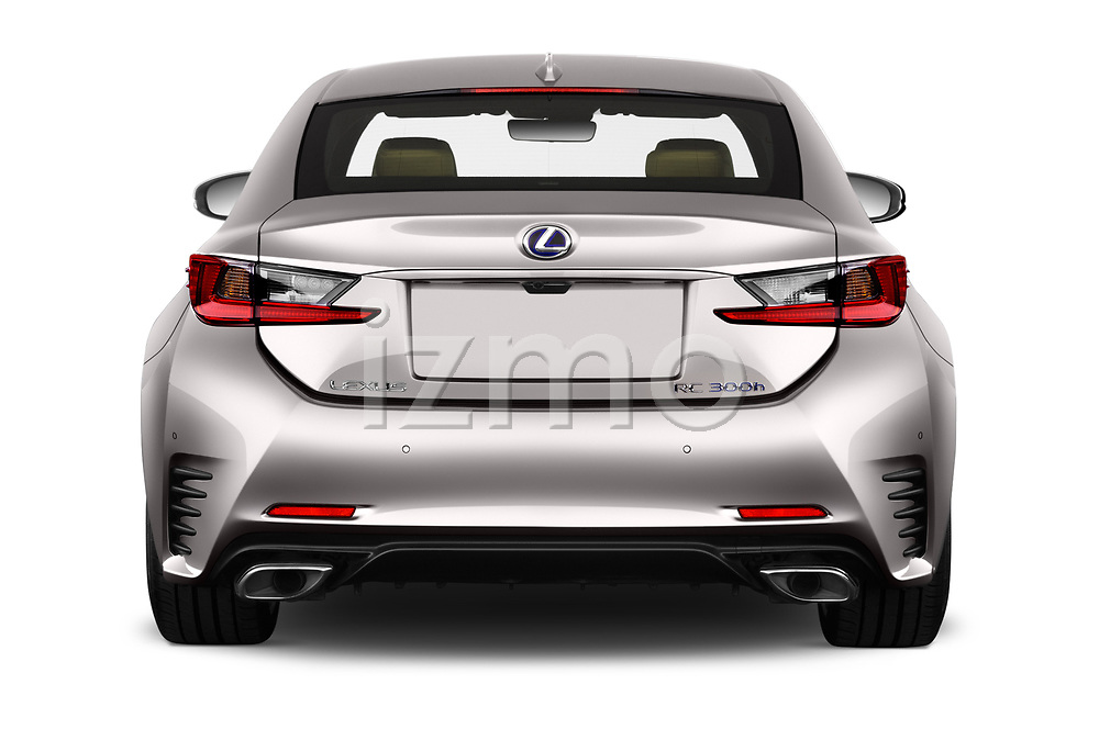 Straight rear view of 2017 Lexus RC F-SPORT-Line 2 Door Coupe Rear View  stock images
