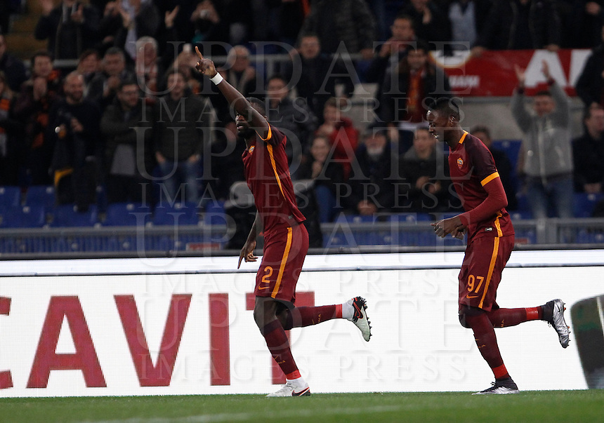 Calcio, Serie A: Roma vs Milan. Roma, stadio Olimpico, 9 gennaio 2016.<br /> Roma's Antonio Ruediger, left, celebrates past his teammate Umar Sadiq after scoring during the Italian Serie A football match between Roma and Milan at Rome's Olympic stadium, 9 January 2016.<br /> UPDATE IMAGES PRESS/Isabella Bonotto