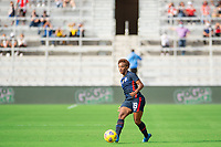 ORLANDO CITY, FL - FEBRUARY 21: Crystal Dunn #19 of the USWNT passes the ball during a game between Brazil and USWNT at Exploria Stadium on February 21, 2021 in Orlando City, Florida.