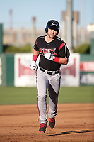 Michael Gettys (28) of the Lake Elsinore Storm runs the bases during a game against the Lancaster JetHawks at The Hanger on June 12, 2017 in Lancaster, California. Lancaster defeated Lake Elsinore, 13-6. (Larry Goren/Four Seam Images)