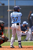 Tampa Bay Rays Jake Palomaki (57) bats during a Minor League Spring Training game against the Baltimore Orioles on April 23, 2021 at Charlotte Sports Park in Port Charlotte, Florida.  (Mike Janes/Four Seam Images)
