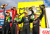 Shawn Langdon, Global Electronic Technology, funny car, Camry, victory, celebration, trophy