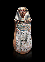 Ancient Egyptian Human headed canopic jar for Amenemheb, clay, New Kingdom, 19th Dynasty (1292-1190 BC), Deir el-Medina. Egyptian Museum, Turin. Old Fund cat 3471. Black background<br /> <br /> The canopic jars were four in number, each for the safekeeping of particular human organs: the stomach, intestines, lungs, and liver, all of which, it was believed, would be needed in the afterlife. By the First Intermediate Period jars with human heads (assumed to represent the dead) began to appear