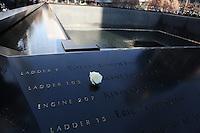 Weiße Rose in der Gedenktafel der Opfer von 9/11 am nördlichen Pool des World Trade Center