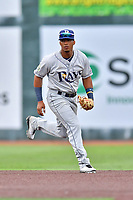 Princeton Rays shortstop Wander Franco (6) reacts to the ball during a game against the Johnson City Cardinals at TVA Credit Union Ballpark on August 9, 2018 in Johnson City, Tennessee. The Rays defeated the Cardinals 10-2. (Tony Farlow/Four Seam Images)