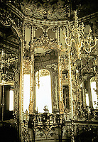Amalienburg in Munich, Germany. Rococo design in Hall of Mirrors by Francois Cuvillies, 1734-1739.